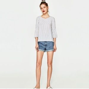 NWT Zara Striped Bell Sleeve Blouse